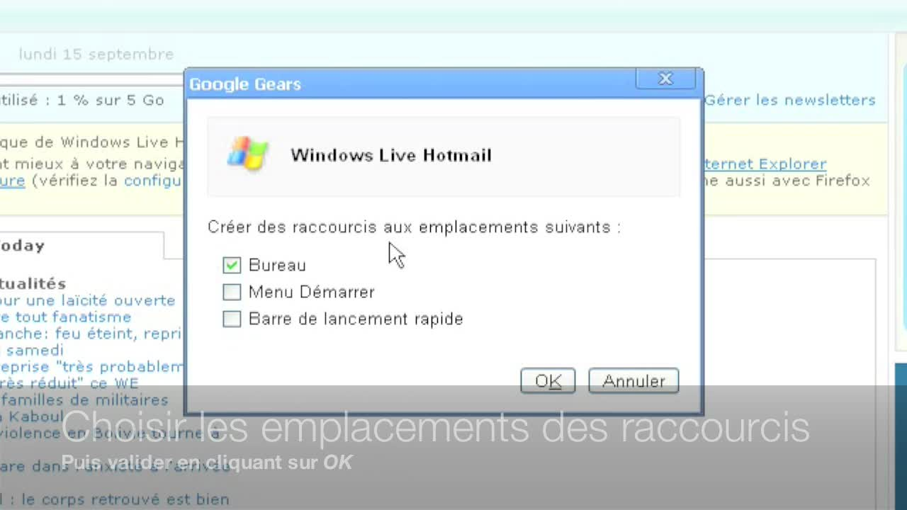 Raccourcis vers des applications Web avec Google Chrome