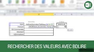 Rechercher des valeurs avec la fonction BDLIRE sur Excel
