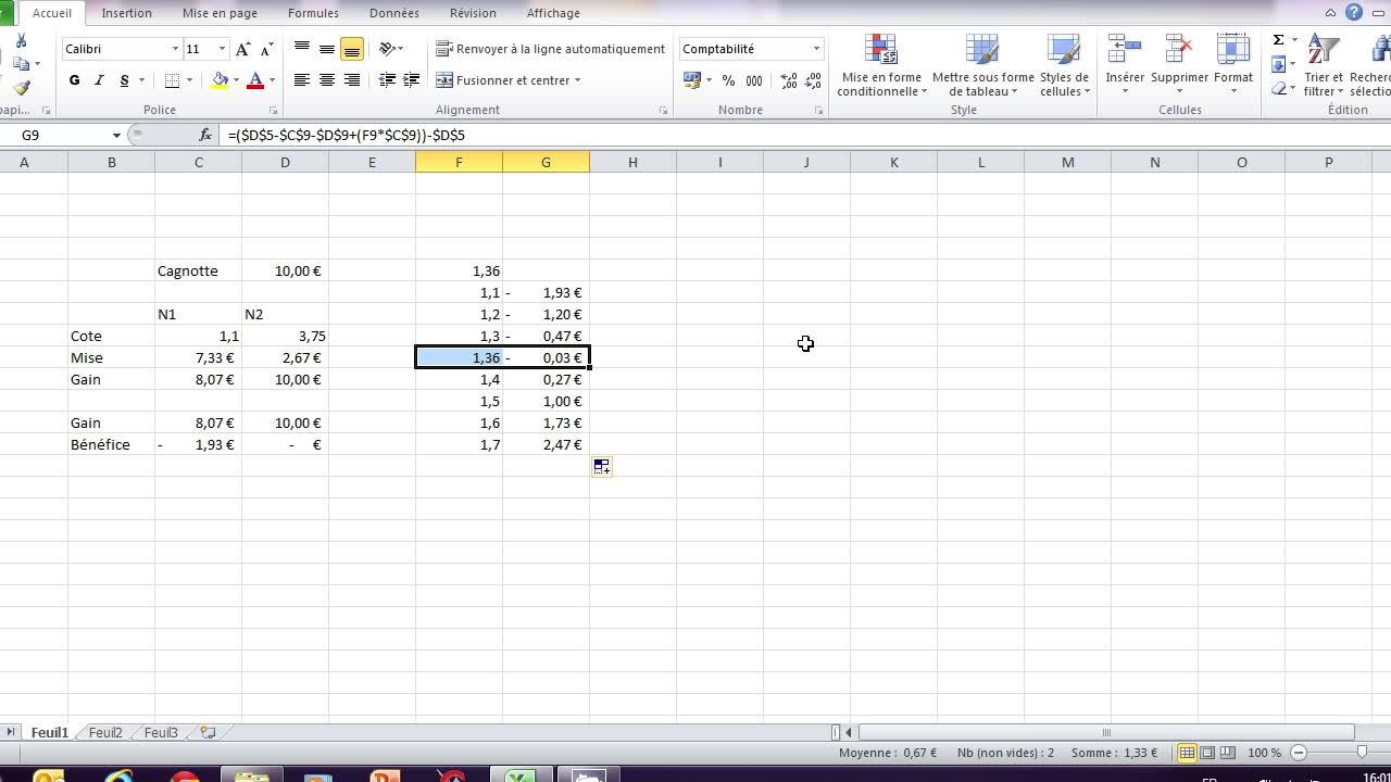 Création d'un système de paris sportifs sans risques sur Microsoft Excel