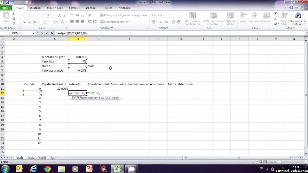 Création d'un tableau de remboursement d'emprunt sur Microsoft Excel