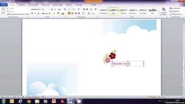 Création d'une carte de voeux sur Microsoft Word 2010   Tutoriel
