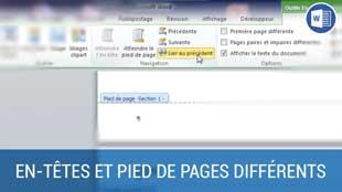 En-têtes et pied de pages différents selon les pages sur Word 2010