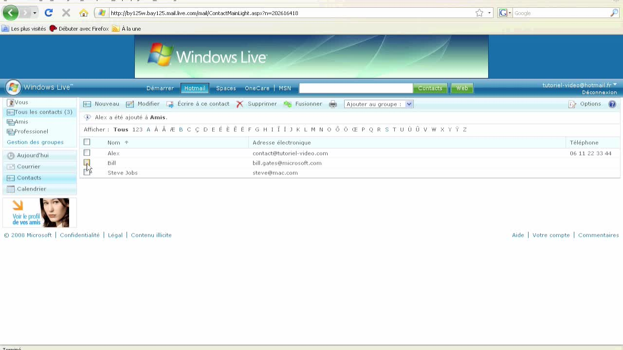 Gestion de vos contacts sur Windows Live Hotmail