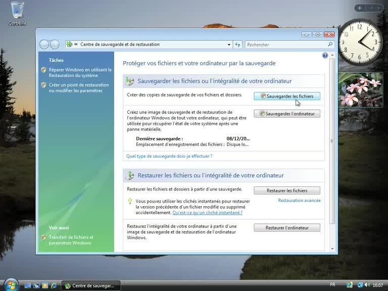 Présentation du centre de sauvegarde de Windows Vista